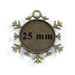 Antikolt bronz színű hópehely üveglencsés medál alap 25 mm NIKKELMENTES