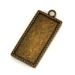 Antikolt bronz színű hosszú téglalap medál