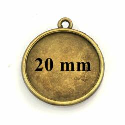 Antikolt bronz színű kerek üveglencsés medál 20 mm NIKKELMENTES