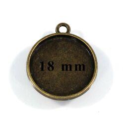 Antikolt bronz színű kerek üveglencsés medál alap 18 mm NIKKELMENTES