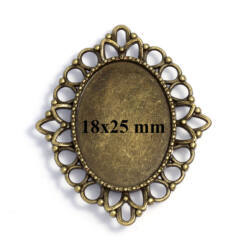 Antikolt bronz színű ovális kapcsoló elem, medál alap 18x25 mm NIKKELMENTES