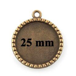 Antikolt bronz színű rovátkás szélű 25 mm kerek üveglencsés medál alap