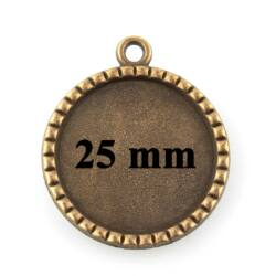 Antikolt bronz színű rovátkás szélű 25 mm kerek üveglencsés medál alap NIKKELMENTES