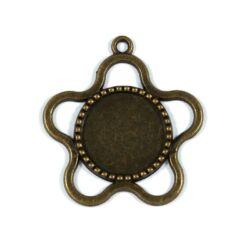 Antikolt bronz színű virág keretes üveglencsés medál alap 18 mm