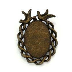 Antikolt bronz színű madaras üveglencsés medál alap NIKKELMENTES