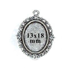 Antikolt ezüst  színű cink ötvözet üveglencsés medál alap 13x18 mm