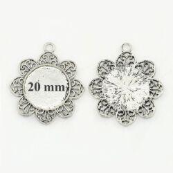 Antikolt ezüst színű díszes virágszirmos üveglencsés medál alap 20 mm