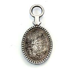 Antikolt ezüst színű nyilas ovális üveglencsés medál alap 18x25 mm NIKKELMENTES