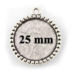 Antikolt ezüst színű rovátkás szélű 25 mm kerek üveglencsés medál alap
