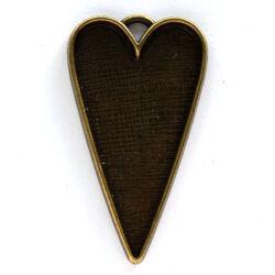 Antikolt bronz színű hosszított nagyméretű szív medál NIKKELMENTES