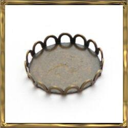 Antikolt bronz, sárgaréz kerek hullámos szélű kaboson foglalat 18 mm NIKKELMENTES