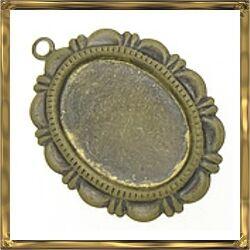 Antikolt bronz színű, réz ovális díszes medál 13x18 mm NIKKELMENTES