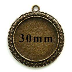 Antikolt bronz színű, díszes szélű kerek medál 30 mm NIKKELMENTES