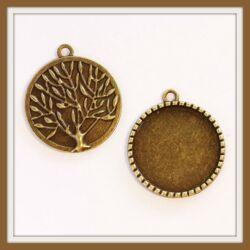 Antikolt bronz színű életfa mintás medál 25 mm NIKKELMENTES