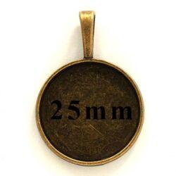 Antikolt bronz színű kerek medál 25 mm NIKKELMENTES