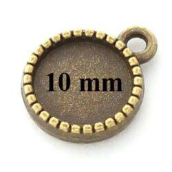 Antikolt bronz színű két oldalas macaron medál 10 mm NIKKELMENTES