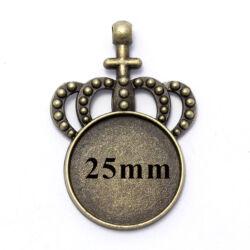 Antikolt bronz színű koronás medál 25 mm NIKKELMENTES