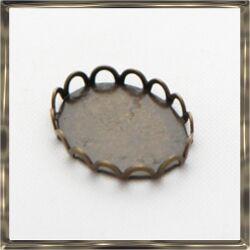 10 db Antikolt bronz színű réz ovális hullámos szélű kaboson foglalat  10x14 mm
