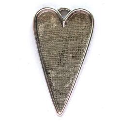 Antikolt ezüst színű hosszított nagyméretű szív medál NIKKELMENTES