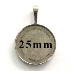Antikolt ezüst színű kerek medál 25 mm NIKKELMENTES