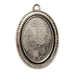 Antikolt ezüst színű ovális csavart mintájú medál alap 20x30 mm
