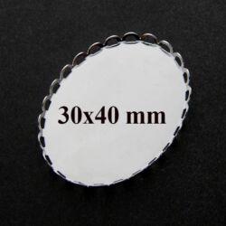 Ródiumos réz ovális hullámos szélű üveglencsés medál alap 30x40 mm NIKKELMENTES