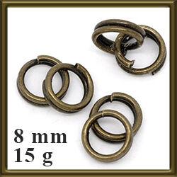 15 g Antikolt bronz dupla szerelőkarika 8 mm NIKKELMENTES