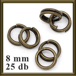 25 db Antikolt bronz dupla szerelőkarika 8 mm NIKKELMENTES