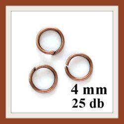 25 db Antikolt réz szerelőkarika 4 mm NIKKELMENTES