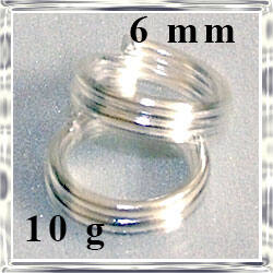 10 g Ezüstözött dupla szerelőkarika 6mm NIKKELMENTES
