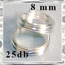 25 db ezüstözött dupla szerelőkarika 8mm NIKKELMENTES