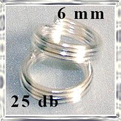 25 db Ezüstözött dupla szerelőkarika 6 mm NIKKELMENTES
