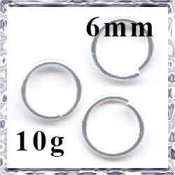 Ródiumos szimpla szerelőkarika 6 mm