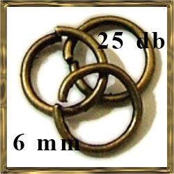 25 db Antikolt bronz szerelőkarika 6 mm NIKKELMENTES