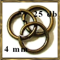 25 db Antikolt bronz szerelőkarika 4 mm NIKKELMENTES