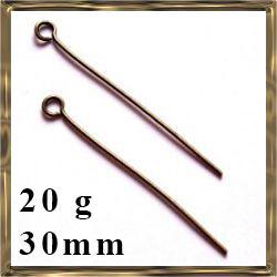 20 g Antikolt bronz szemes szerelőpálca 30 mm NIKKELMENTES
