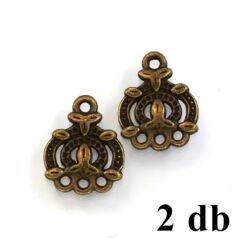 2 db Antikolt bronz színű díszes 3 soros fülbevaló alap távtartó NIKKELMENTES