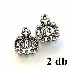 2 db Antikolt ezüst színű díszes 3 soros fülbevaló alap távtartó NIKKELMENTES