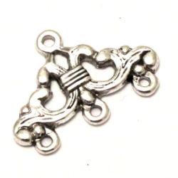 Antikolt ezüst színű indás 1-3 soros távtartó kapcsoló elem 2 db NIKKELMENTES