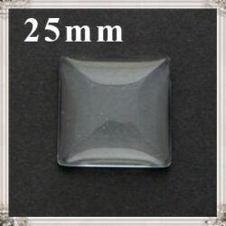 Lapos hátú áttetsző négyzet üveglencse edzett üvegből 25x25 mm