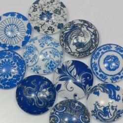 Mintás üveglencse vegyes Kék virágos 12 mm 2 db