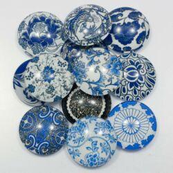 Mintás üveglencse Kék virágos 25 mm
