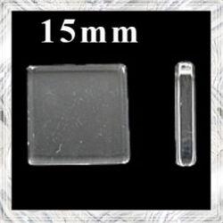 Sík üveglencse négyzet 15 mm