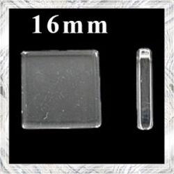 Sík üveglencse négyzet 16x16 mm