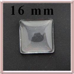 Lapos hátú áttetsző négyzet üveglencse edzett üvegből 16x16 mm