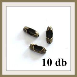 Antikolt bronz színű záróvég golyós lánchoz NIKKELMENTES 10 db
