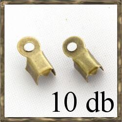 10 db Antikolt bronz bőrvég láncvég kicsi 3x6mm NIKKELMENTES