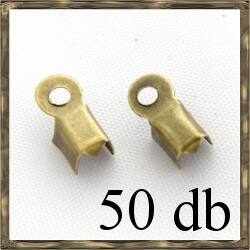 50 db Antikolt bronz  bőrvég láncvég kicsi 3x6mm NIKKELMENTES