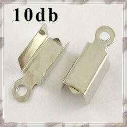 10 db Ródiumos bőrvég láncvég 12x4 mm NIKKELMENTES