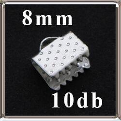 10 db Ezüstözött szalagvég 8 mm NIKKELMENTES